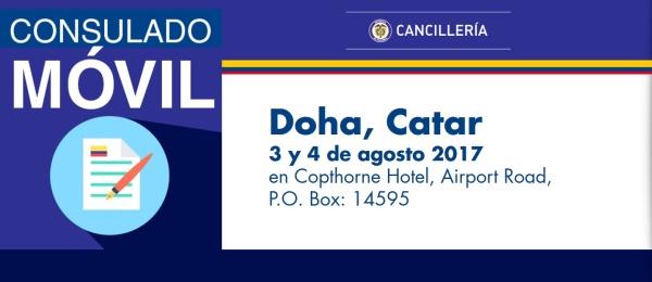 El Consulado de Colombia en Abu Dhabi visitará con su unidad móvil Doha, Catar, los días 3 y 4 de agosto de 2017